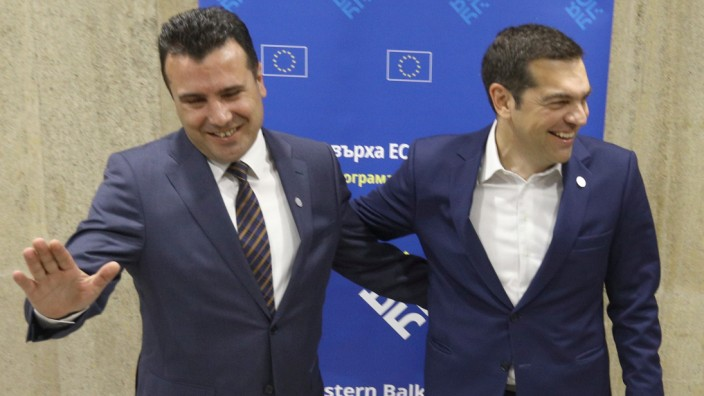 FILE PHOTO: Greek Prime Minister Tsipras meets with Macedonian Prime Minister Zaev at the EU-Western Balkans Summit in Sofia
