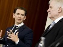 Sebastian Kurz und Horst Seehofer sprechen über Flüchtlingspolitik