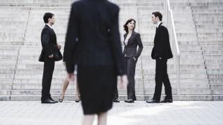 Germany Baden W¸rttemberg Stuttgart Businesswoman walking businesspeople in the foreground model
