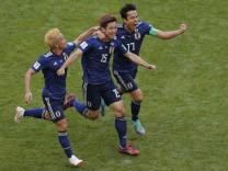 Yuya Osako erzielt das 2:1 für Japan bei der Fußball-WM 2018 gegen Kolumbien.