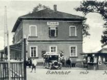 meisaha Bahnhof Maisach mit neuem Kiosk 1930er-Jahre, Betreiberin Gisela Amode