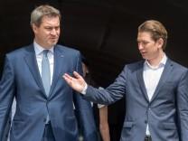 Österreichs Bundeskanzler Sebastian Kurz und Bayerns Ministerpräsident Markus Söder in Linz: Bayerisches Kabinett tagt mit Österreichs Bundeskabinett