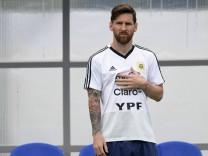 Lionel Messi beim Training während der Fußball-WM 2018