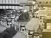 Stau an einer Autobahn-Baustelle in NRW