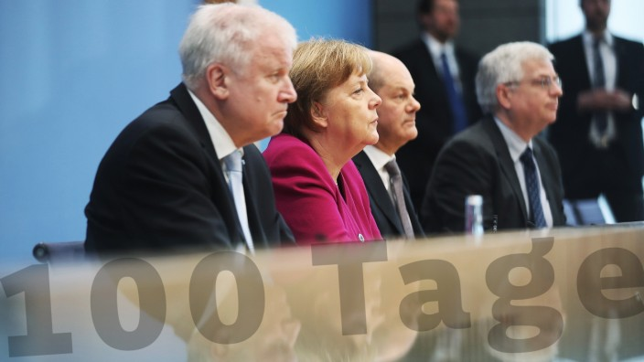 Bundesregierung: Horst Seehofer, Angela Merkel und Olaf Scholz nach Bildung der großen Koalition