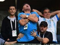 Diego Maradona beim WM-Spiel Argentinien gegen Nigeria