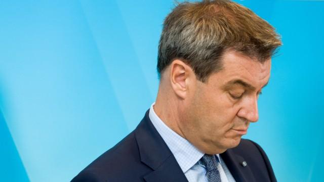 Bayerns CSU-Ministerpräsident Markus Söder bei einer PK