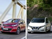 Die Elektroautos Opel Ampera-e und Nissan Leaf im Vergleichstest.