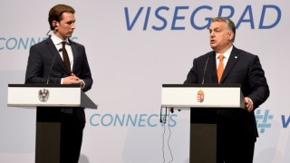 Prime Minister of Hungary Orban, Federal Chancellor of Austria Kurz, and Prime Minister of Slovakia Peter Pellegrini attend a news conference in Budapest