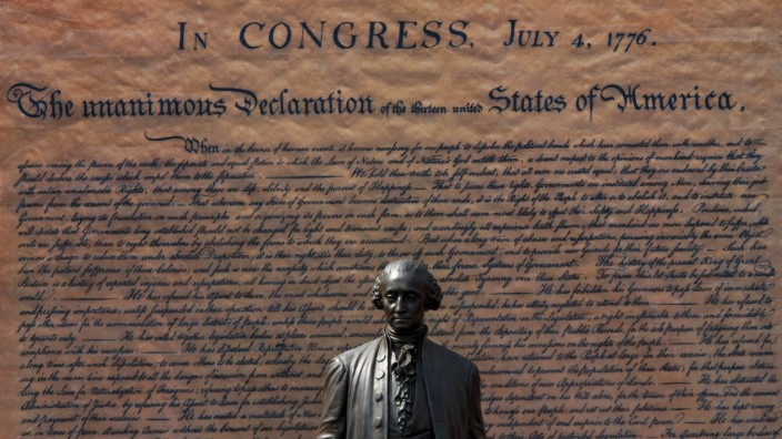 July 4 2018 Philadelphia PA USA A statue of Thomas Jefferson is seen in front of a large pri