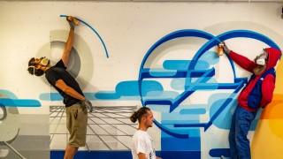 Kunst am Bau : Wandgestaltung von Outer Circle in der Volksbank Raiffeisenbank Dachau