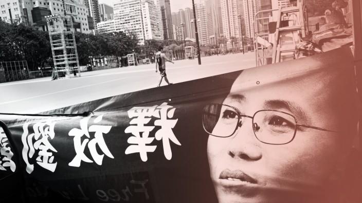 Liu Xia, Witwe des Friedensnobelpreisträgers Liu Xiaobo, auf einem Plakat in Hong Kong