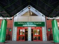 Haupteingang des Krankenhauses in Salisbury