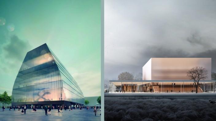 Entwürfe für die Konzerthäuser in München (links) und Nürnberg