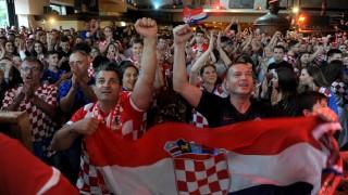 Kroatische Fans beim Public Viewing in München während der Fußball-WM, 2018