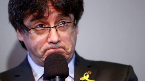 FILE PHOTO: Catalonia's former leader Carles Puigdemont addresses a news conference in Berlin