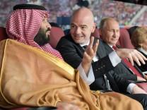 MOSCOW RUSSIA JUNE 14 2018 Saudi Arabia s Crown Prince Mohammed Bin Salman Al Saud FIFA Presid