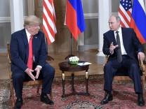 HELSINKI FINLAND JULY 16 2018 US President Donald Trump and Russia s President Vladimir Putin