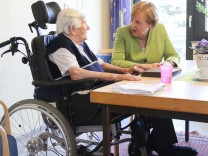German Chancellor Merkel visits the St. Johannisstift old people's home in Paderborn