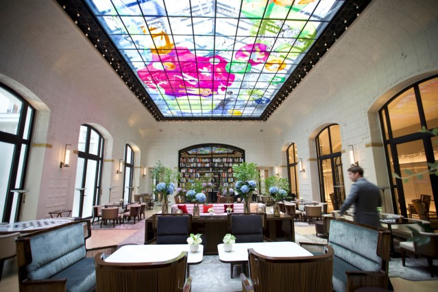 A view shows the Salon Saint Germain with its historic glass roof in the more than century-old Hotel Lutetia in Paris