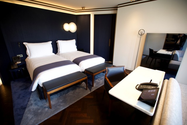 A view shows a bedroom in the more than century-old Hotel Lutetia in Paris