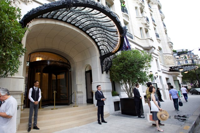 A view shows the main entrance of the more than century-old Hotel Lutetia in Paris