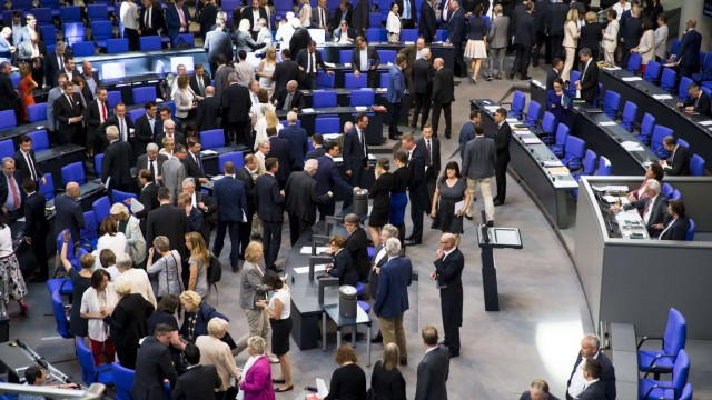 July 4 2018 Berlin Germany Members of the Parliament cast their ballot for a vote during the