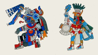 Aztec divinities after Codex Borbonicus, 1507 left : Tlaloc, right: Huitzilopachtli,