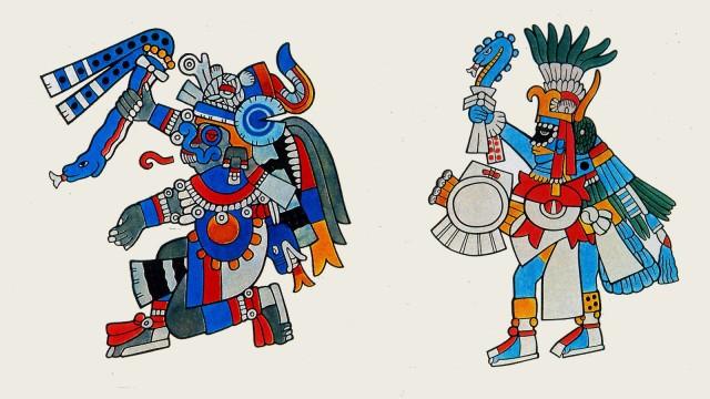 Aztec divinities after Codex Borbonicus, 1507 left : Tlaloc, right: Huitzilopachtli,