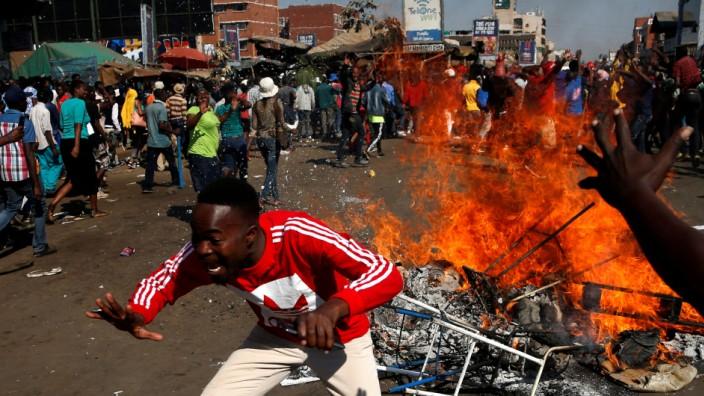 Unruhen in Simbabwe nach der Parlamentswahl 2018