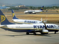 Ryanair planes are seen at the airport, during a protest on the first day of a cabin crew strike held in several European countries, in Valencia