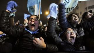 Abtreibungs-Gegner feiern in Argentinien
