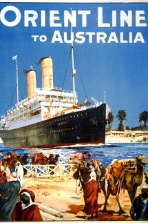 Orient Line to Australia, 1909 (colour litho)
