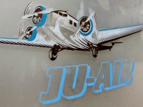 A Junkers Ju-52 airplane is seen in the logo of local airline JU-AIR in Duebendorf