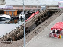 General view of the wooden gateway which collapsed during a concert in Vigo northwestern Spain 13
