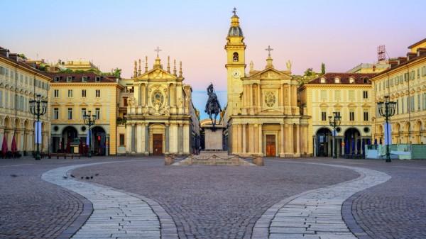 Piazza San Carlo city center of Turin, Italy