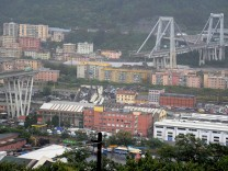 The collapsed Morandi Bridge is seen in the Italian port city of Genoa