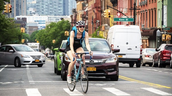 Greenpoint neighborhood in Brooklyn In New York Manhattan Avenue the main shopping street in the Gr