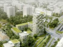 Erst Entwurfsskizzen für das Immobilienprojekt Covent Garden Munich. Pläne, Kloster, Karmelitinnen.