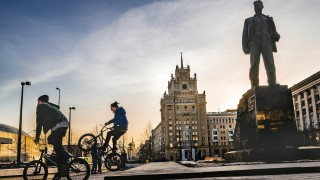 Russia Moscow Triumfalnaya Square after reconstruction Bicyclists KonstantinxKokoshkin PUBLICATI