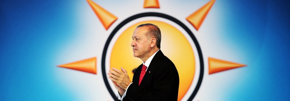 Turkish President Tayyip Erdogan announces his ruling AK Party's manifesto for next month's election in Ankara