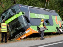 A Flixbus bus is seen after it crashed on the side of the A19 highway, in Linstow