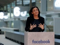 Sheryl Sandberg, Chief Operating Officer of Facebook, delivers a speech during a visit in Paris