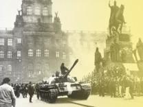 **ARCHIV** Russische Panzer am 21. August 1968 auf dem Prager Wenzels-Platz...