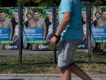 CSU-Wahlkampfslogan: Söder macht's steht auf einem Plakat in Bayern.