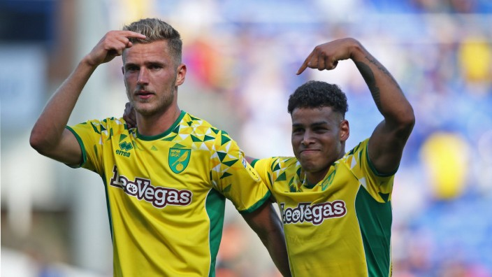 Birmingham City v Norwich City Sky Bet Championship Mutual respect from Dennis Srbeny of Norwich and; Norwich City