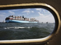 File photo of the MV Maersk Mc-Kinney Moller, the world's biggest container ship, arriving in the harbour of Rotterdam