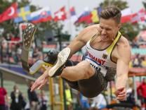 Para Leichtathletik EM Berlin 25 08 2018 Europameister im Weitsprung Markus Rehm T64 GER TSV; Rehm