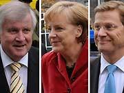 Seehofer, Merkel, Westerwelle, ddp