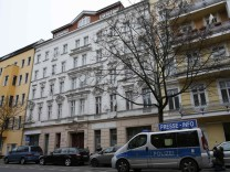 A police car is parked in front of the building with the Fussilet 33 mosque in Berlin Moabit